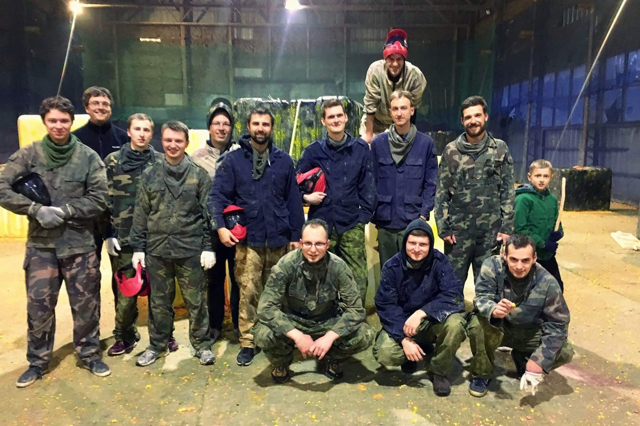 E-Bros team playing paintball