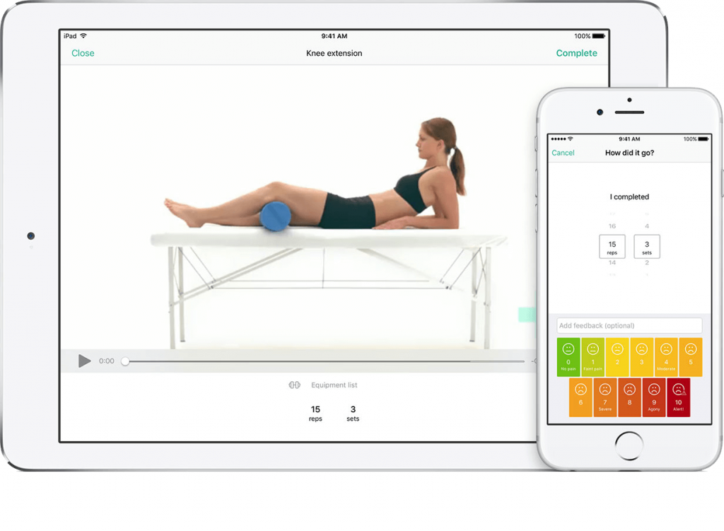 PhysiApp mobile app on iPad and iPhone