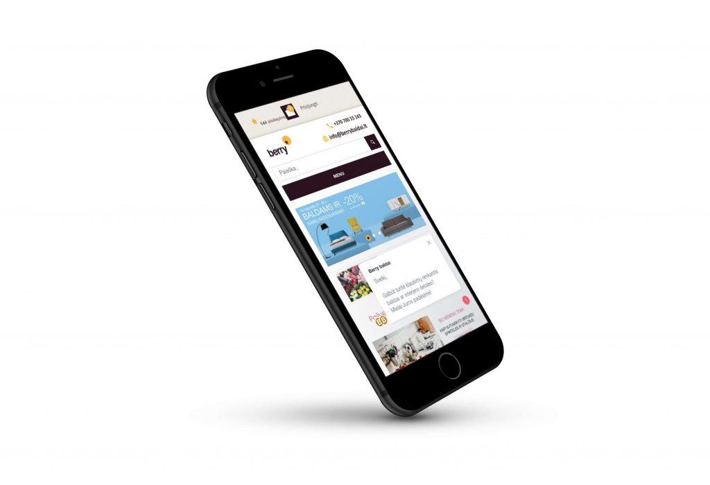 Berry Baldai E-Commerce store on mobile phone