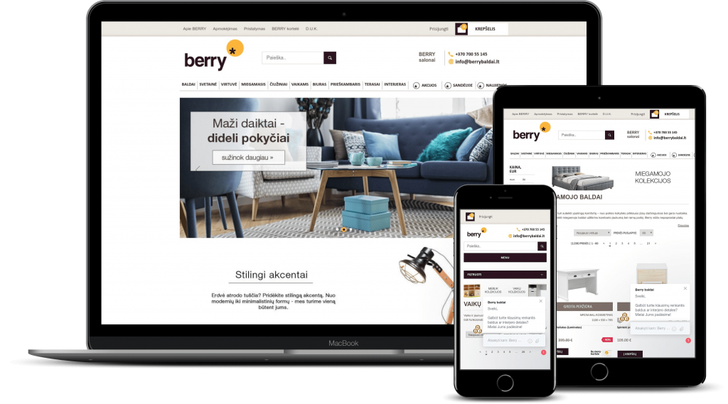 Berry Baldai E-Commerce store on multiple devices