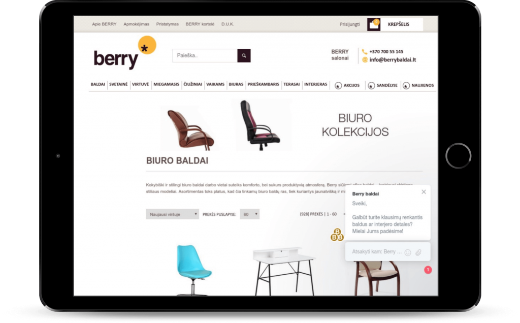 Berry Baldai E-Commerce store on tablet