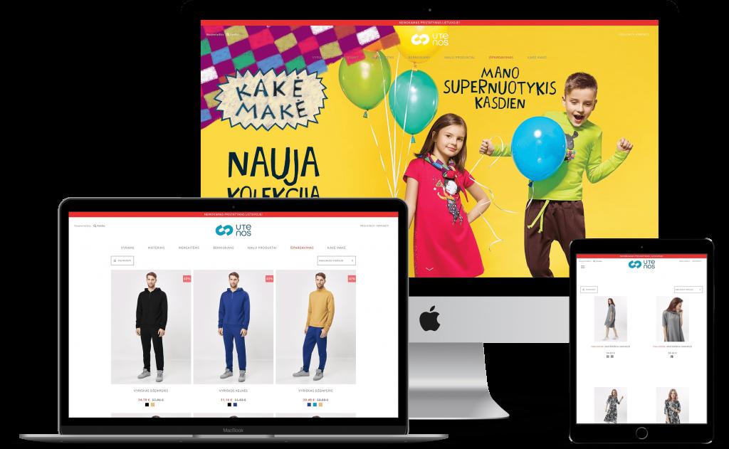 Utenos Trikotazas E-Commerce store on multiple devices