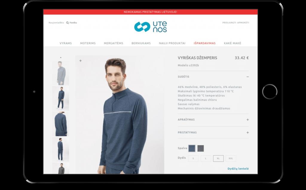 Utenos Trikotazas E-Commerce store on tablet
